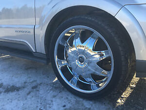 24 Inch Chrome Csquared Wheels Rims Tires Fit 6 X 139 7 Hummer H3 Denali