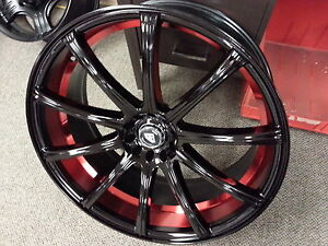 White Diamond 22x9 Black Red Wheel Rims Tires Fit Bmw 530 650 745 Series 5x120