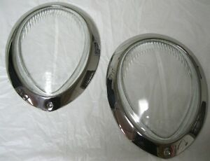 1939 Ford Deluxe Clear Glass Headlight Lens Stainless Headlamp Ring Combo Pair