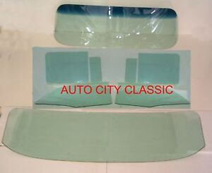 1956 Chev Pontiac 4 Door Hardtop Windshield Vent Door Rear Back Glass Set Green