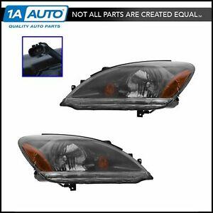 Headlights Headlamps W Smoked Background Left Right Pair Set For 04 07 Lancer