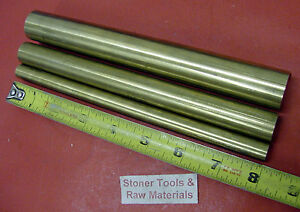 3 Pieces 1 3 4 1 2 C360 Brass Solid Round Rod 8 Long New Lathe Bar Stock