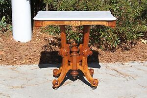 Fancy Large Burl Walnut Victorian Scalloped Marble Top Center Table Ca 1870