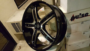 26 Inch Akuza 844 Black Machine Wheels Rims Tires Fit 5x115 5x127