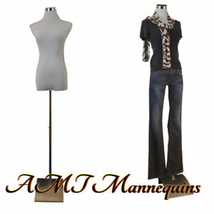 Female Mannequin For Pants Dress Form 1 Black Nylon Cover White Torso f pb 51