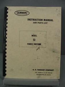 Tennant 53 Power Sweeper Instruction Parts Manual
