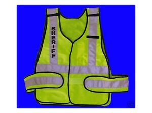 Sheriff Bright Lime Green Reflective Traffic Safety Vest Ansi isea Fits All