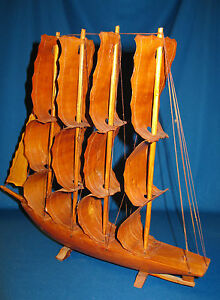Vintage Wood Model Ship With Bark Sails