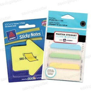 Martha Stewart Home Office Supplies Avery Note Tabs Sticky 3 Wide Pastel 24 pk