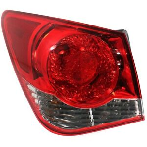 Halogen Tail Light For 2011 2015 Chevy Cruze Left Outer Clear red W Bulbs