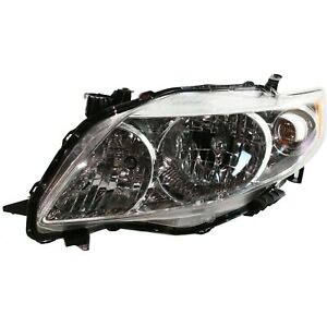 Headlight For 2009 2010 Toyota Corolla Left Chrome Housing With Bulb
