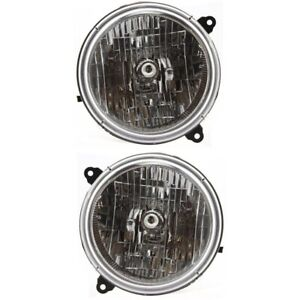 Headlight Set For 2003 2004 Jeep Liberty Driver And Passenger Side W Bulb