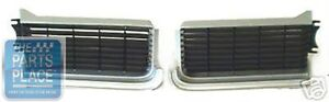 1969 Oldsmobile Cutlass 442 Grille Silver Black Plastic Pair