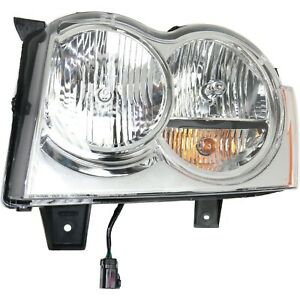 Headlight For 2005 2006 2007 Jeep Grand Cherokee Left Chrome Housing With Bulb