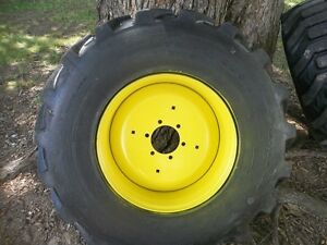 Two 15x19 5 6 Ply R4 Kubota L35 Backhoe Farm Tractor Tires W 6 Hole Rims