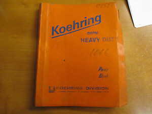 Koehring 1066 Hydraulic Track Hoe Excavator Parts Manual