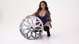 24 Strada Huracan Chrome Wheels Rims tires Fit 300 Charger Escalade Tahoe F150