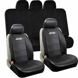 2 Front Classic Sideless Synthetic Leather Seat Cover Elegant Bench Cover Jeep