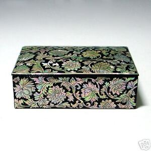 Mother Of Pearl Inlay Wood Desk Top Business Name Card Case Holder Box Organizer