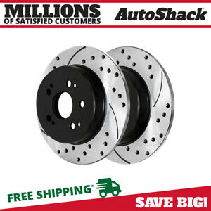 Rear Drilled Slotted Brake Rotors Pair 2 Fits 02 04 2005 2006 Acura Rsx 96732