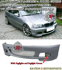 M tech Ii Style Front Bumper With Fog Fits 00 06 Bmw E46 3 series Coupe