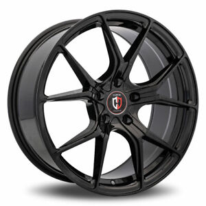 20 Inch Revolution Racing R15 Black And Blue Wheels Rim Tires Fit 5 X 114 3