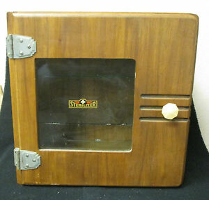 Antique Wooden Sterilizer With 3 Glass Shelves And A Glass Window