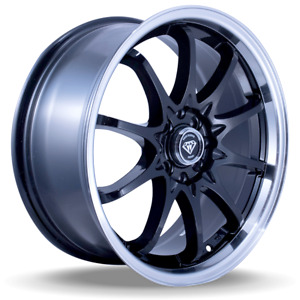 17 Inch White Diamond 1018 Wheel Rims Tires Black Polish 5 X 114 3
