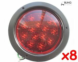 8 Red Round 5 Flush Mount Stop Turn Tail Led Lights Truck Trailer Rv 14 Diode
