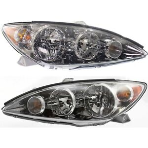 Headlight Set For 2005 2006 Toyota Camry Left And Right Chrome Housing 2pc