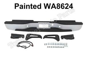 Prepainted White Rear Bumper For 1999 2006 Silverado Sierra 2500 3500 Heavyduty