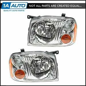 Headlights Headlamps Pair Set Left Right For 01 04 Nissan Frontier Pickup