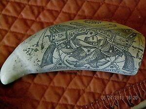 Scrimshaw Sperm Whale Tooth Resin Replica Turnage Mississippi 8 Inch