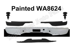 Painted White Rear Bumper Pads Retainer For 99 07 Silverado 1500 Fleetside