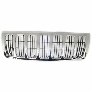 Grille For 99 2003 Jeep Grand Cherokee Chrome Shell W Black Insert Plastic