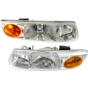 Headlights Headlamps Left Right Pair Set For Saturn S Series Sl Sw 4 Door
