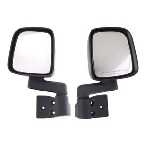 Mirror Manual Remote Pair For 2003 2006 Jeep Wrangler Tj Textured Black
