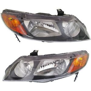 2006 2008 Replacement Headlight Pair For Honda Civic 4 Dr Sedan Black Housing