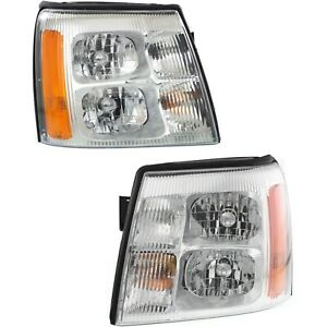 Headlight Set For 2002 Cadillac Escalade Left And Right With Bulb 2pc