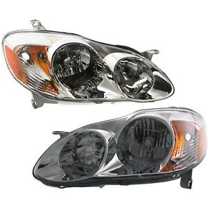 Headlight Set For 2003 2004 Toyota Corolla Driver Passenger Side W Bulb