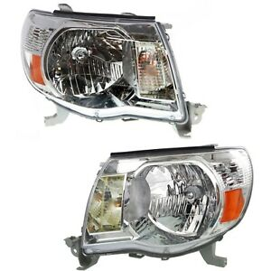 Headlight Set For 2005 2011 Toyota Tacoma Left And Right Halogen With Bulb 2pc