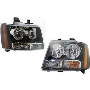 Headlight Set For 2007 2014 Chevrolet Tahoe Suburban 1500 Left Right 2pc