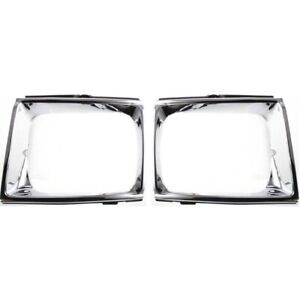 Headlight Door Set For 1989 1991 Toyota Pickup Left And Right Chrome 2pc