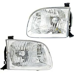 Headlight Set Left And Right For Toyota 2001 04 Sequoia 00 04 Tundra Double Cab Fits 2002 Toyota Tundra