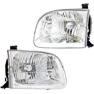 Halogen Headlight Set For 2001 2004 Toyota Sequoia Left Right W Bulb S Pair