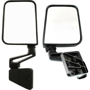 Left Right Side View Door Manual Black Folding Mirrors For 87 02 Jeep Wrangler