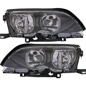 Headlight Set For 2002 2005 Bmw 325i 320i Left And Right Black Housing 2pc