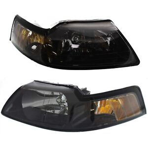 Headlight Set For 2001 2004 Ford Mustang Driver And Passenger Side W Bulb