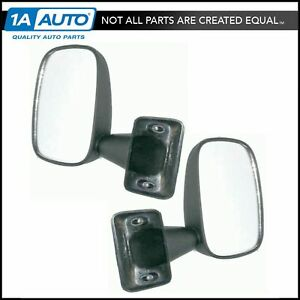 Black Manual Mirrors Left Lh Right Rh Pair Set For 79 83 Toyota Pickup Truck