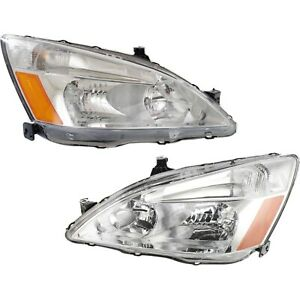 Headlight Set For 2003 2007 Honda Accord Left And Right With Bulb 2pc